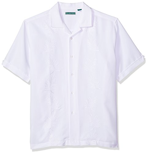 Cubavera Men's Short Sleeve Leaf Embroidered Shirt With Camp Collar, Bright White-Standard, X-Large (Camp Rayon Shirt)