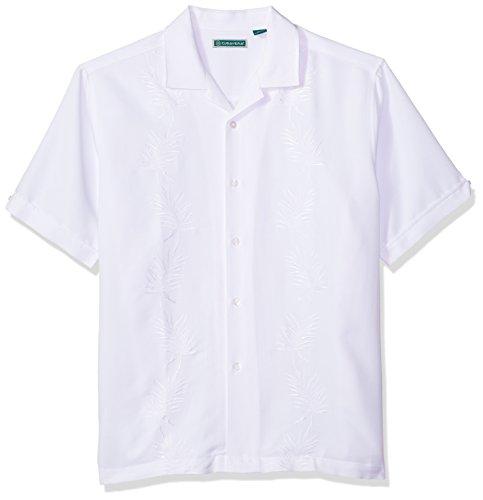 (Cubavera Men's Short Sleeve Rayon-Blend Solid Cuban Camp Shirt with Pocket, Bright White, Medium)
