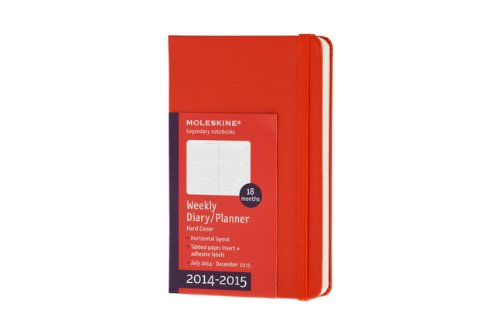 Moleskine 2014-2015 Weekly Planner, Horizontal, 18 Month, Pocket, Red, Hard Cover (3.5 x 5.5) (Moleskine Diaries)