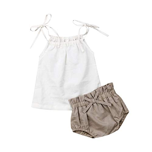 2Pc Toddler Baby Girl Casual Sleeveless Camisole top + Bow Shorts Set Summer Clothing Set