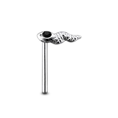 Black Gem Head Viper Sterling Silver Straight Nose pin Body jewelry