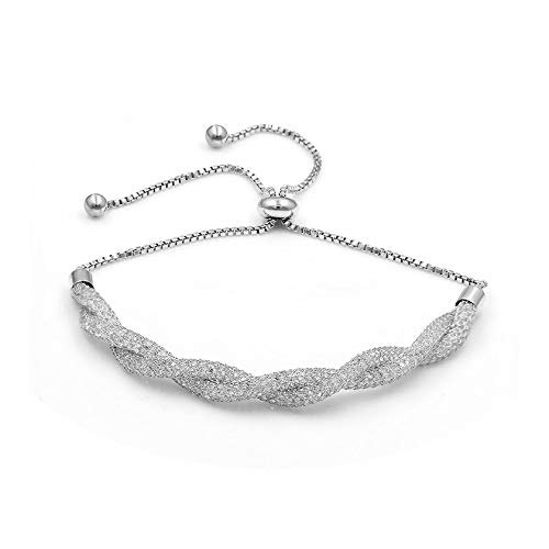2 Rows Tied Shinning Tiny Cubic Zirconia Crystal Bezel Setting Adjustable Bracelets for Women in Assorted,201 White Gold ()