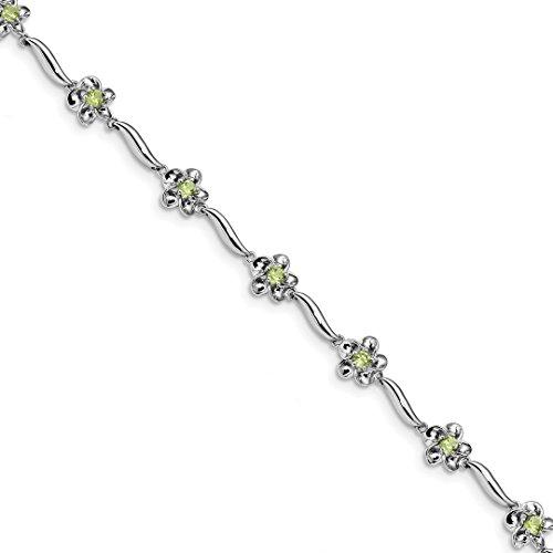 925 Sterling Silver Floral Green Peridot Bracelet 7.5 Inch/love Gemstone Fine Jewelry For Women Gift Set
