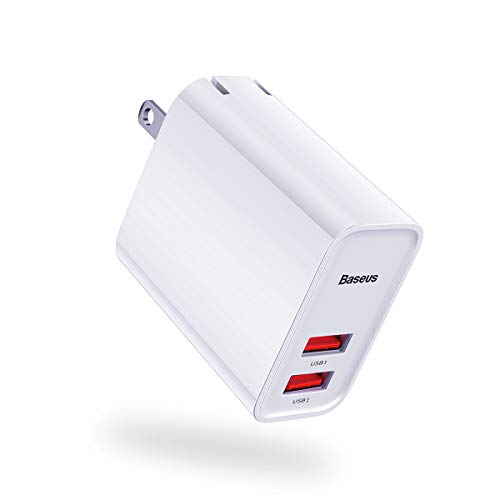 Dual USB Wall Charger(2019 Upgrade), Baseus 30W Quick Charge 3.0 USB Wall Charger, Portable USB Charger for iPhone Xs/XS Max/XR/X/8/Plus,iPad Pro/Air 2/Mini,LG,Galaxy S10/S9/S8,Laptop,Tablet and More