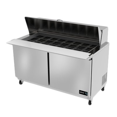 Asber APTM-60-24 Two Door 24 Pan Mega Top Sandwich / Salad Prep Table