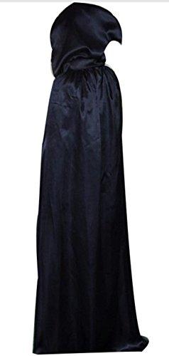 Halloween Costume Wizard Black Hooded Cloak Robe Vampire Adult Kids Costume by - Halloween Costumes Premier