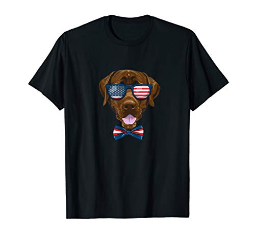 Funny American July 4 Chocolate Lab with Sunglasses  T-Shirt