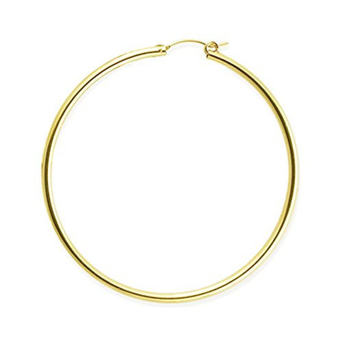14k Hollow Earrings - Designs by Nathan, 14K Yellow Gold Filled Seamless Classic Notch Hoop Tube Earrings, Many Sizes