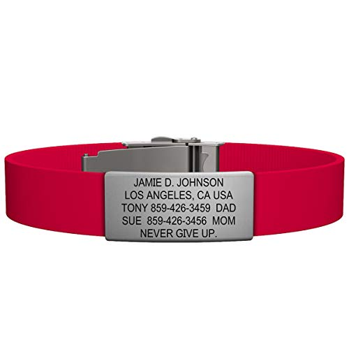 New Name Bracelet - Road ID Bracelet - the Wrist ID Elite 13mm - Stainless Classic - Identification Bracelet, ID Wristband, Child ID, and Sport ID - Fits Adults & Kids (Red)