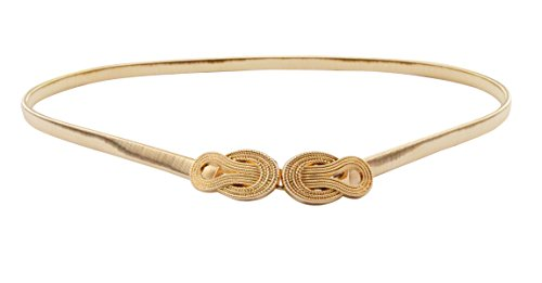 E-Clover Womens Fashion Metal Stretch Waist Skinny Belt Waistband (Style1) (Gold Dress Belt)