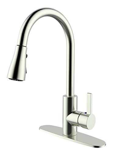 Aquatrend Pull Down Out Kitchen Faucet,Single Hole or Three Hole Installation,Goose Neck,360 Degree Spout Brushed Nickel