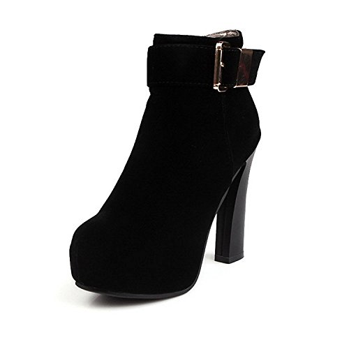 Yingzuzeng Women's Chains Round Closed Toe High-Heels Imitated?Suede Low-top Boots Black7 B(M) US Fashionable]()