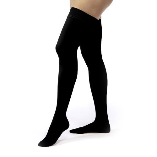 (JOBST Relief Thigh High with Silicone Dot Top Band, 20-30 mmHg Compression Stockings, Closed Toe, Large, Black )