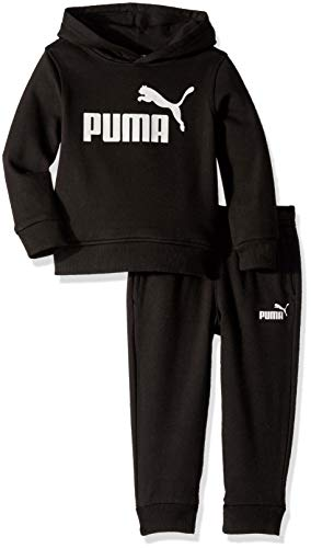 PUMA Boys' Toddler Fleece Hoodie Set, Black, 2T
