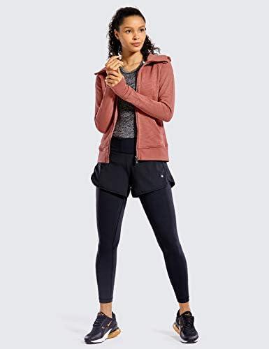CRZ YOGA Women's Cotton Hoodies Sport Workout Full Zip Hooded Jackets Sweatshirt