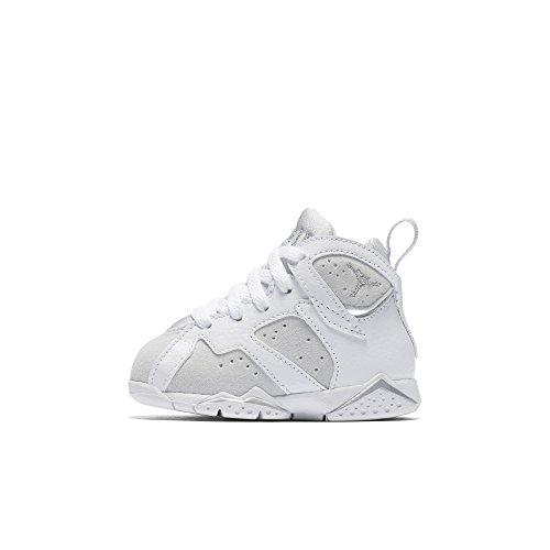 Jordan 7 Retro BT Toddler Shoes White/Metallic Silver 304772-120 (10 M US) by Jordan