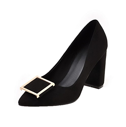 Odomolor Women's Pu Pull-On Pointed-Toe High-Heels Soild Pumps-Shoes Black