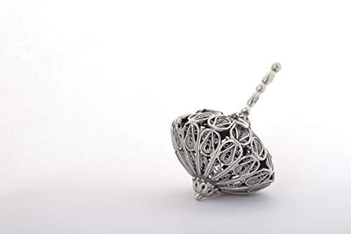 Round handmade sterling silver filigree dreidel