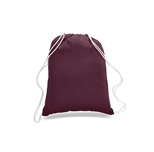 Great Deal! ( 50 Pack ) Budget Friendly Sport Drawstring Backpack %100 Cotton Bags for Sport,Gym or Promotional Plain Backpacks (MAROON) by Georgiabags