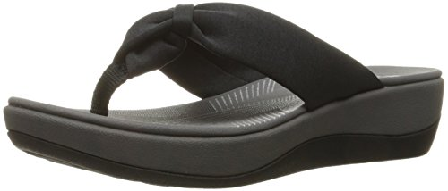 CLARKS Women's Arla Glison Flip-Flop, Black Fabric, 7 Medium - Front Wedge Bow