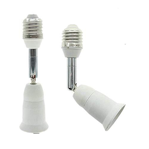 Aukora E26 E27 Light Bulb Socket Extender, Bendable Medium Base Light Socket Converter for Motion Sensor Light Bulb Standard LED Bulbs, Adjustable Vertical 180