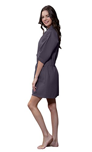 Turquaz Linen Lightweight Knee Length Waffle Kimono Bridesmaids Spa Robe (Small/Medium, Charcoal Gray) ()