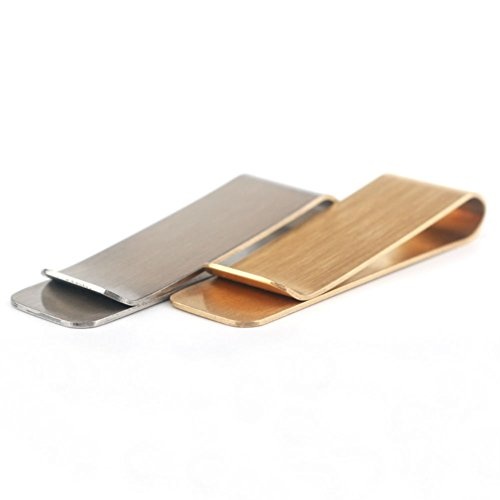 (AKOAK 2 Pcs/Set Multi Functional Brass and Stainless Steel Metal Bookmark Clips,Metal Business Cards Credit Cards Clips,Metal Cash Bills/Receipts Clips)