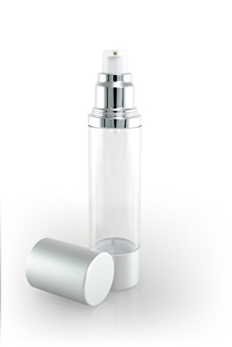 Luxe Empty Airless Pump Bottle with Lid for Homemade Beauty Products, Lotion and Serum (50 ML, Clear Bottle with Matte Silver)