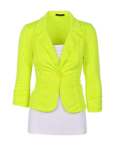 - Shaoyao Womens Slim Fit Blazer Solid 3/4 Sleeve Lapel Collar Open Front Suit Jacket Coat Tops Outerwear Fluorescent Yellow XL