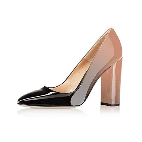 Fericzot Pumps Women Sexy Patent Leather Pointed Toe Block Heels Pumps Gorgeous Evening Party Wedding Stiletto Shoes Plus Size Black-Nude 8M ()