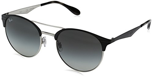 Ray-Ban Metal Unisex Round Sunglasses, Top Black on Silver, 54 - Ban Ray Protection Uv Glasses