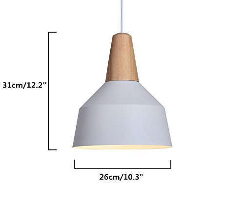 BOKT 60W Edison Lights Modern Industrial Pendant Lamp Colorful Hanging Chandelier Shade Light E26/E27 Base Painted Finish Solid Wood Series Single Head (A-White) by BOKT (Image #1)
