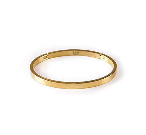 B.Tiff Yellow/Rose Gold Plated Stainless Steel Minimalist Simple Plain Narrow Matte Bangle Cuff Bracelet Fashion Jewelry for Women Men Unisex