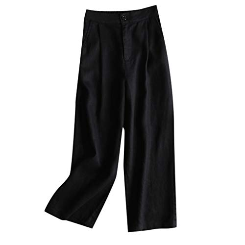 TIFENNY Casual Wide Leg Pants for Womens Linen Elastic Waist Cropped Trousers Bottoms Sports Wear Sweatpants Black
