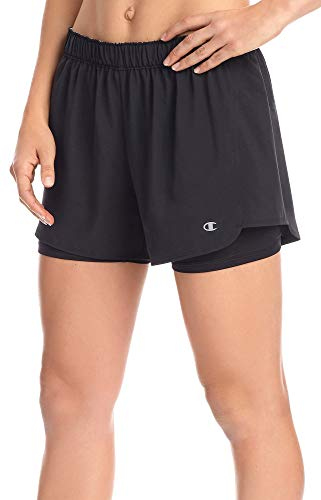 Champion Women's Stretch Woven 2 in 1 Short, Black, L ()