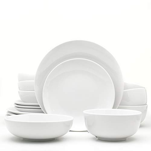 Euro Ceramica WHT-868160 Essential Dinnerware and Serveware, 16 Piece Set, Service for 4, Pure White