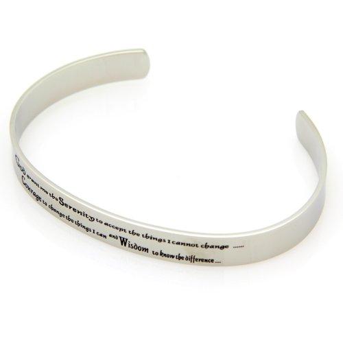 Serenity Prayer Cuff Bracelet - High Quality Etched Stainless Steel Bracelet - 12 Step Bracelet