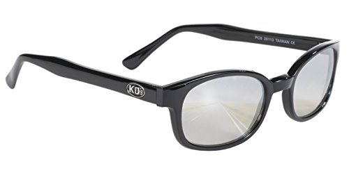 Pacific Coast Original KD's Biker Sunglasses (Black Frame/Clear Silver Mirror - Coast Sunglasses