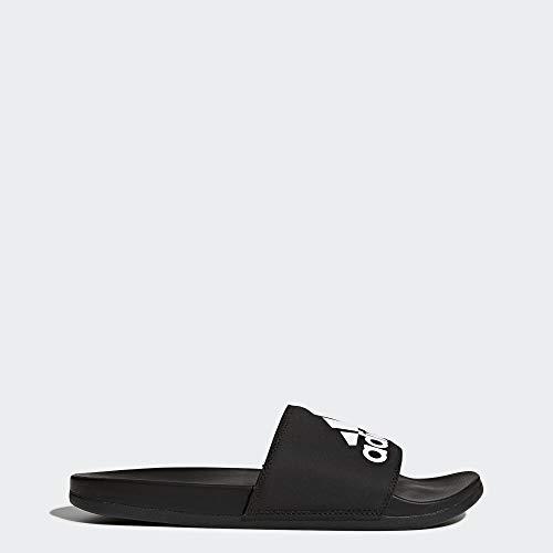 adidas Men's Adilette Comfort Slide Sandal, Black/White, 11 M US