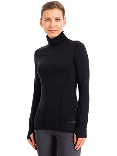 Terramar Womens Fleece - Terramar Women's Cloud Nine 4-Way Stretch Brushed Turtleneck Sweaters, Black X-Large/16