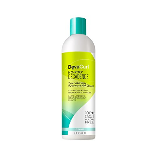 Cleanser Curl - Devacurl No-Poo Decadence Milk Cleanser; Zero Lather; Curly Hair; Gentle; Sulfate; Paraben and Silicone Free; 12 Ounce