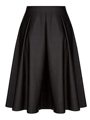 Chartou Women's Vintage A-line Big-Hem Swing Below Knee Length Pleated Skater Flowy Midi Skirt