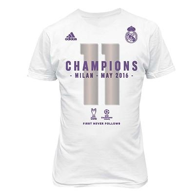 adidas Real Madrid Official 2016 Champions League Winners Womens T-Shirt - White