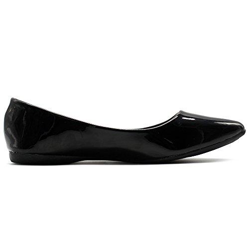 Image of Ollio Women's Shoe Ballet Basic Pointed Toe Comfort Enamel Flat