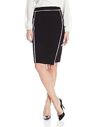 Calvin Klein de las mujeres falda de tubo con ribete - negro ...