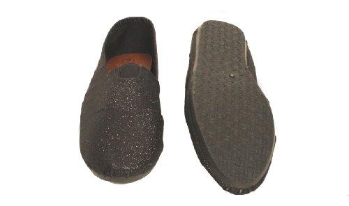 Zapatillas Slip-on De Lona Para Mujer Negras Con Purpurina