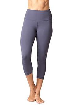 Yogalicious High Waist Ultra Soft Lightweight Capris - High Rise Yoga Pants - Lavender Grey - Xs 0