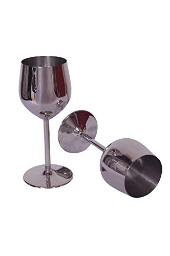 COPPER ESSENTIALS Silver Mirror Finish Goblet set of 2 for gifting, parties, wedding reception, family gatherings made from stainless - Low Goblet Water