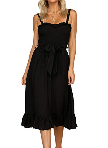 MIHOLL Women's Summer Sleeveless Ruffle Flared Midi Party Dress (Large, Black)