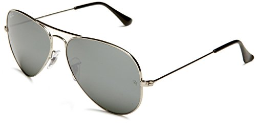 Ray-Ban 3025 Aviator Large Metal Mirrored Non-Polarized Sunglasses, Silver/Silver Mirror (W3277), 58mm by Ray-Ban